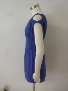 Arden B Royal Blue Stretch One Shoulder Empire Waist Cut Out Shoulder