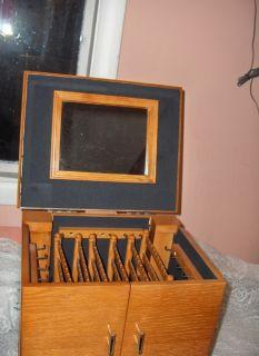 Oak Wood Deluxe Jewelry Box Mirror Jewelry Silver Anti Tarnish Drawers