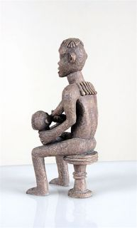 Anyi Mother Twins African Art Statue Figurine Sculpture