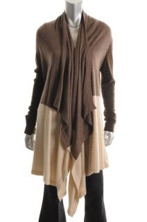 Aqua Brown Cashmere Colorblock Open Front Asymmetric Cardigan Sweater