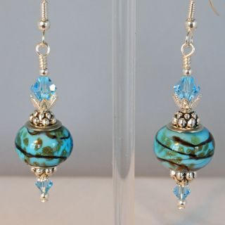 AQUA RONDELLE WITH GOLD SAND & STRIPES WITH SWAROVSKI CRYSTAL ELEMENTS