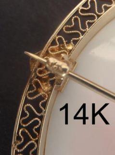 Large Antique Pink Cameo set in 14K Gold Filigree Brooch /Pendant