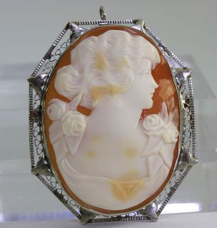 Antique Victorian Hand Carved Shell Cameo 14k Y Gold Filigree Brooch