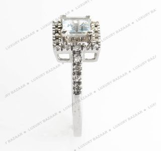 14k White Gold Diamond Pave Square Aquamarine Ring