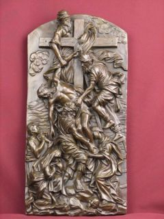 Bronze Sculpture Christ Plaque Relief Religious Highly Detailed Statue