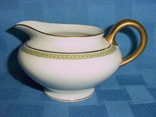 Antique Haviland Limoges China Schleiger 622 Green Gold Square Creamer