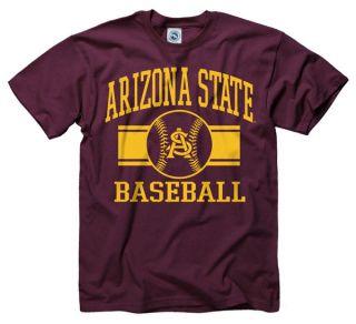 Arizona State Sun Devils Maroon Wide Stripe Baseball T Shirt