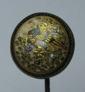 Antique Japanese Satsuma Porcelain Enamel Bird Floral Stick Pin