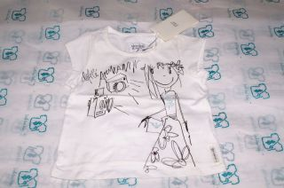 Armani Junior Rhinestone Sparkle Print Girls Baby Kids White T Shirt
