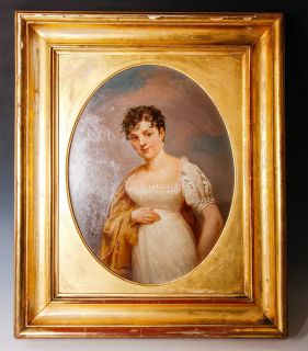 Antique French Empire Oil Painting Portrait A Woman Gilted Wood Frame