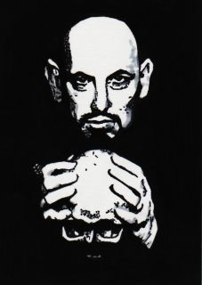 ACEO Anton LaVey satanism occult devil skull original evil satanic