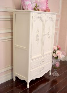 Shabby Cottage Chic TV Armoire White French Vintage Ornate Roses 3