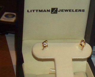 14kt Yellow Gold Diamond Pierced Earrings REDUCED