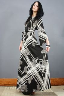 Vtg 70s Op Art Angel Kimono Grecian Goddess Bell Sleeve Hippie Boho