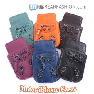 Motorcycle Leather iPhone 3 4 4S Cases Apple Cell Phone Covers