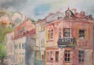 French Watercolor Painting Cityscape Signed Maurice Utrillo