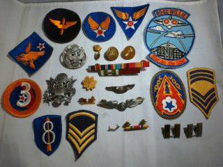 US MILITARY WW II MEDALS PATCHES RIBBONS PINS STERLING SILVER WINGS