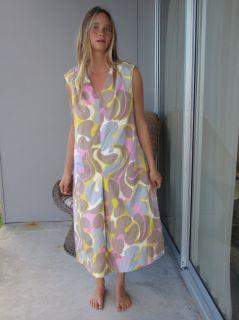 Vintage 60s 70s Mod Op Art Pastel Puzzle Piece Silk Abstract Mad Men