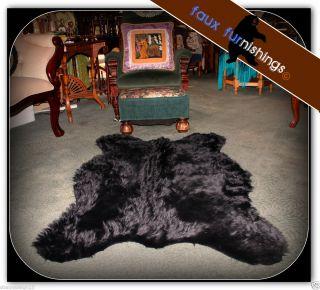 Black Bear Skin Area Rug 5x7 Sheep Deer Throw Bed Spread Carpet Faux