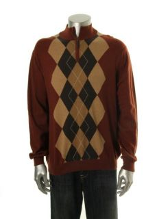 Tasso Elba New Brown Argyle Long Sleeve 1 4 Zip Mock Turtleneck