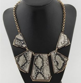 New Hot Artificial Snake Lether Geometric Irregular Choker Necklace