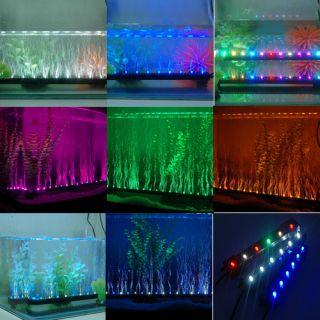 Safety Underwater Aquarium Fish Tank Air Pumping LED Bubble Light Bar