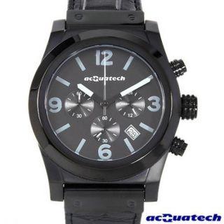 New $1490 Acquatech Mens Polluce Chrono Black Leather Chronograph Date