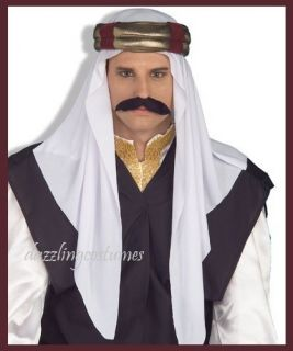 arab headpiece sheik arabian sultan hat gold costume accessory white