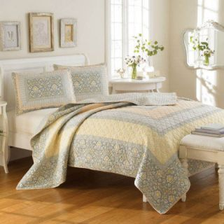 Laura Ashley King Quilt Sheffield 3pc Cotton Seafoam Green Coral Pink