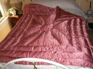 Vintage Pink Hollywood Glam GOOSE Down Liquid Satin Comforter Quilt 2