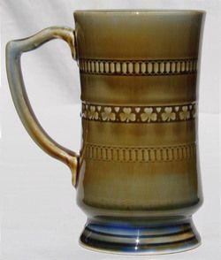 Vintage WADE Irish Porcelain Coffee MUG Shamrock Stein Letter D