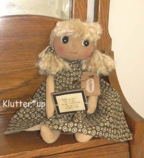 Primitive Homespun Fabric Country Girl Doll Ashlee Made in USA