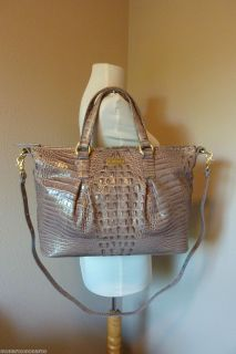 Brahmin Stone Croco Embossed Leather Hunter Shopper Tote Bag $365