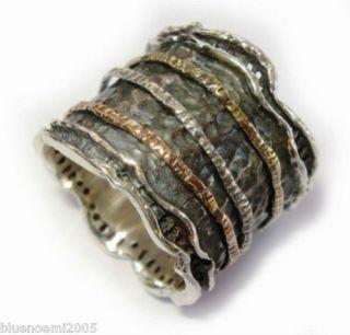 Bague Tube Argent or Anneau Bijou Dessin Israelien Spinner Ring