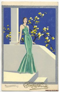 Meschini Lovely Woman Art Deco ARS Nova Pochoir ca1930 Happy New
