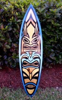 Original Surfboard Tiki 3 Foot Solid Wood Surf Art Beach Decor