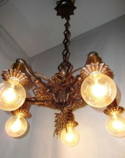 Antique Bronze Art Deco Chandelier c1920 Nice