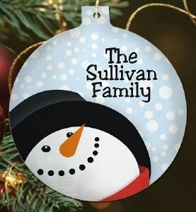 Personalized Let It Snow Snowman Christmas Tree Ornament