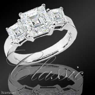 81 Carat 3 Stone Asscher Cut Diamond Ring G SI1 EGL