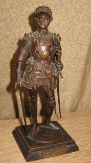 Antique Bronze Sculpture Knight in Armor King Arthur English