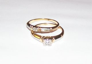 1920s Antique Diamond Cut Wedding Ring Set 14K 18k yellow white Gold