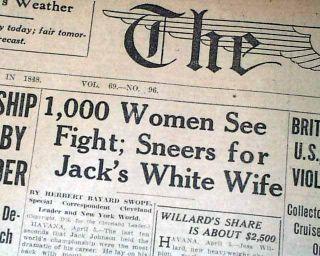 Great JESS WILLARD Beats Negro Jack Johnson Boxing TITLE w/ Photo 1915