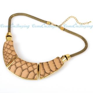 Vintage Golden Chain Artificial Snake Leather Pendant Necklace