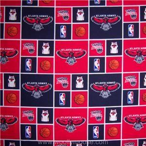Half Yard NBA Atlanta Hawks Basketball Jersey Hoop Logo Quilt Fabric 1