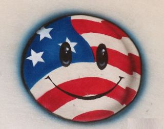 American Flag Smiley Face Airbrush T Shirt USA Patriot