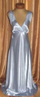 Satin 1920s Style Long Blue Gown Jones New York