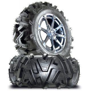 Diesel Chrome 14 ATV Wheels 26 Motomtc Tires Honda Rincon IRS