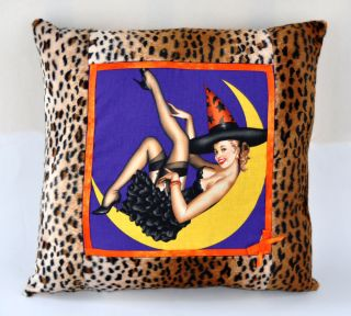 vintage HALLOWEEN PINUP GIRL & LEOPARD PRINT PILLOW witch psychobilly