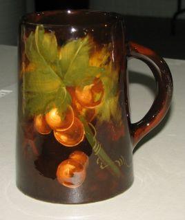 Weller Pottery Aurelian Brown Standard Glaze Grapes Design Mug * Early