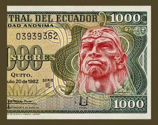 1000 Sucres Banknote of Ecuador 1982 Inca Warrior Rumiñahui Pick 120